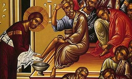 painting of Jesus washing feet